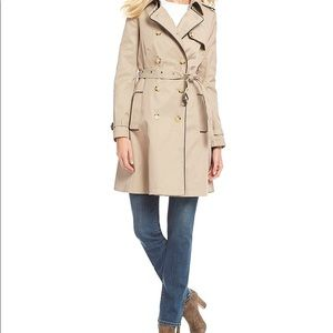 Ralph Lauren trench coat with faux leather trim